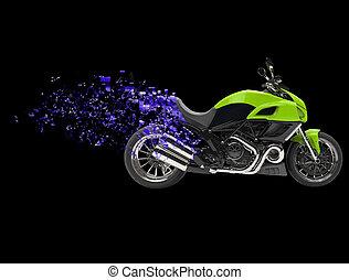 -, ilustración, bicicleta deportiva, pixel, destrucción