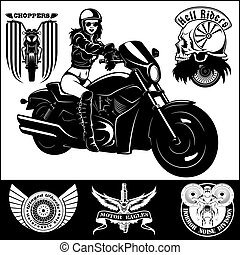 -, ilustración, biker, vector, white., sexy, monocromo, niña