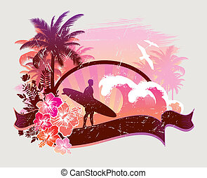 -, ilustración, tablista, tropical, vector, playa