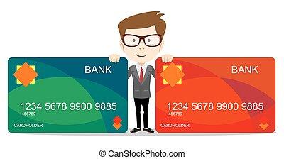 -, ilustración, vector, banco, tenencia, tarjeta, hombre