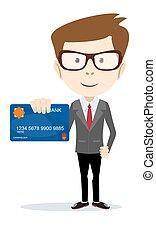 -, ilustración, vector, tarjeta, tenencia, hombre de negocios, banco