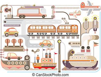 -, ilustración, viaje, vector, turismo, transporte