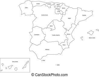 Mapa España Comunidades Autonomas Blanco Y Negro.Mapa De Espana Desviada A Las Comunidades Administrativas