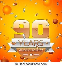 Vector Feliz Cumpleaños 90 Globos Dorados Y Brillos De