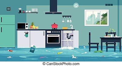 Inundacion Vector En La Cocina Sucia Sala De Pruebas Fondo De