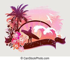 -, ilustracja, surfer, tropikalny, wektor, plaża
