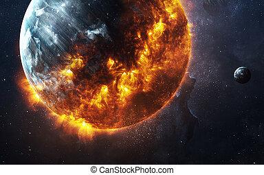 -, image, planète, éléments, brûlé, fond, ceci, apocalyptique, meublé, nasa, résumé, exploser