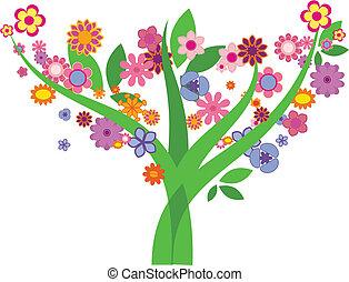 -, imagem, vetorial, árvore, flores
