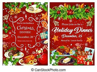 Invitación Para La Cena De Navidad Para El Diseño De Fiestas