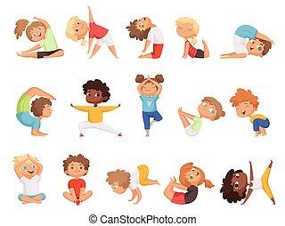 Yoga Para Ninos Los Ninos Felices Hacen Diferentes Ejercicios Personajes De Dibujos Animados Ejercicio De Yoga Para Ninos