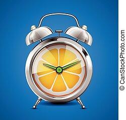 -, immunity, test, gyümölcs, vitamin, idő, citrom- és narancsfélék, c-hang, óra, vitaminok, fogalom