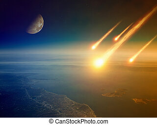 -, impact, fond, apocalyptique, jugement, mondiale, astéroïde, fin, jour