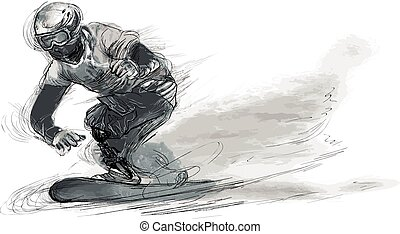 -, incapacidades, atletas, snowboard, físico