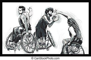 -, incapacidades, basquetebol, atletas, físico