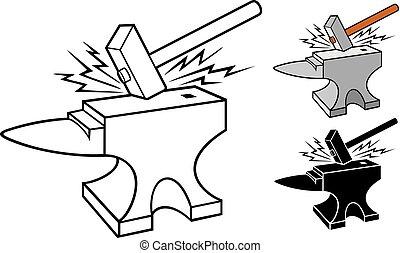 -, incudine, maniscalco, vettore, disegno, martello