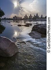 -, inde, madhya, pradesh, orchha, cenotaphs