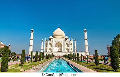 -, india., la plupart, célèbre, monument, mahal, taj, pradesh, agra, uttar