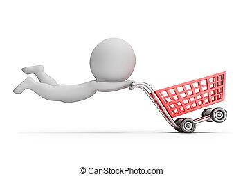 -, indkøb, folk, lille, faste, cart, 3