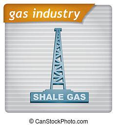 -, industria, gas, sagoma, presentazione