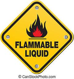 -, inflammable, jaune, liquide, signe