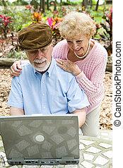 -, informatique, personne agee, vertical, couple