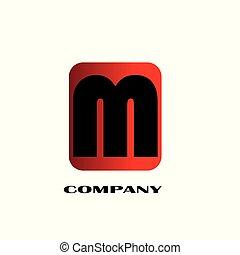 -, iniziale, m, vettore, disegno, lettera, logotipo, collegato