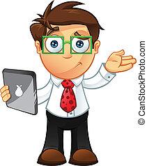 -, inseguro, tableta, hombre de negocios