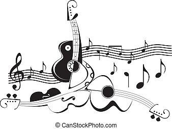 -, instrumenter, vektor, illustra, musik