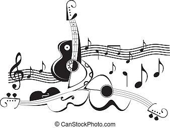 -, instrumentos, vector, illustra, música