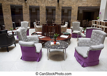 -, interior, café, restaurante