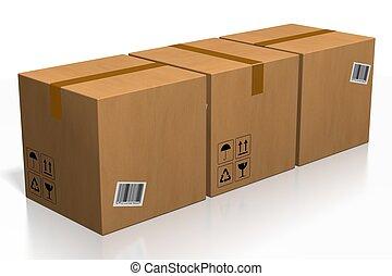 -, interpretazione, fondo, pacchetti, isolato, bianco, 3d