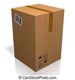 -, interpretazione, fondo, pacchetto, isolato, bianco, 3d