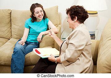 -, intervista, adolescente, conversazione, divertimento