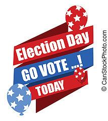 -, ir, eleição, voto, bandeira, dia