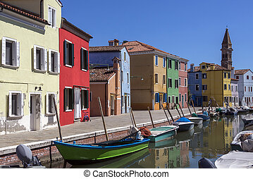 -, isla, venecia, burano, italia