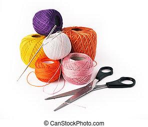 -, isolado, fundo, crochet, passatempo, branca, ferramentas