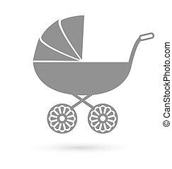 -, isolato, carrello, bambino, bianco, carrozzina, icona