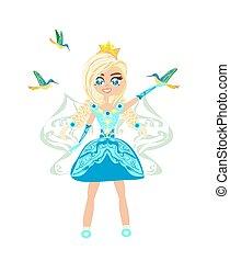 -, isolato, principessa, fata, carino, illustrazione