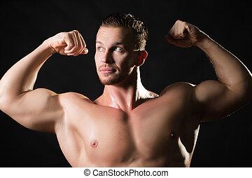 -izmú, hím, formál, noha, erős, fegyver