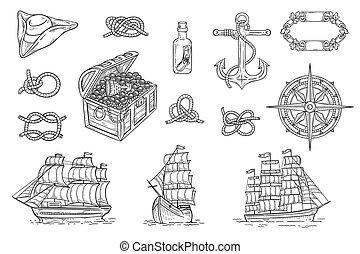 -, jacht, zeerover, tekening, schat, vector, set, illustratie, scheeps , ouderwetse