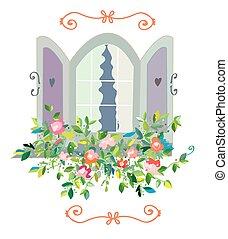 -, janela, desenho, retro floresce, cartão