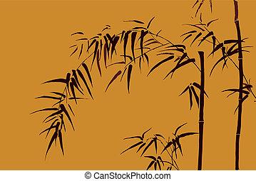-, japonés, motivo, 3, vector, bambú