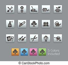 --, jardinagem, ícones, satinbox, série