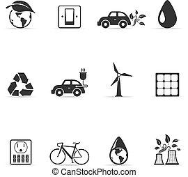 -, jednorazowy, kolor, środowisko, ikony