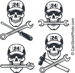 -, jel, retro, sapka, koponya, kalapács, csavarkulcs, szerelő