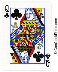 -, jeu carte, clubs, reine