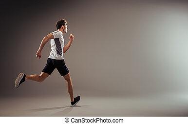 -, jogger, aktive, freigestellt, junger, rennender