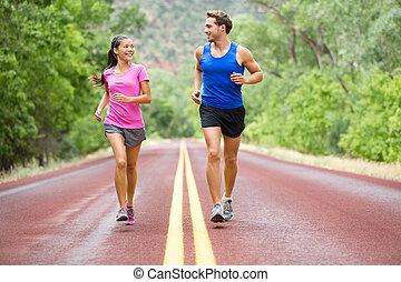 -, jogging, couple, courant, exercisme