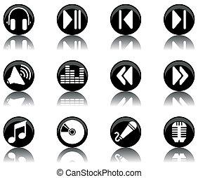 -, jogo, 2, música, ícones
