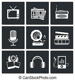 -, jogo, mídia, ícone, música, notícia, gravando, tv, vídeo...